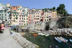 Fisherman village Riomaggiore Stock Photos