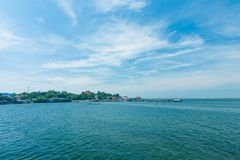 Fisherman village beside river in thai gulf of thialand.  Stock Images