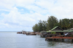 Fisherman village stand on a sea called home stay Royalty Free Stock Images