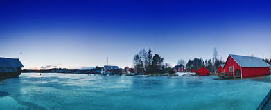 Fisherman village at winter Stock Photos