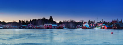Fisherman village at winter Royalty Free Stock Images