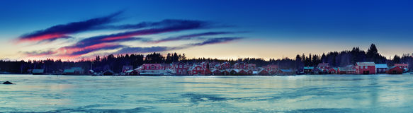 Fisherman village at winter Royalty Free Stock Photos