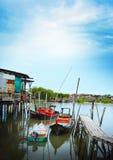 Fisherman water village. Fisherman boats at Kampung Bagan Pasir, Tanjung Karang, Kuala Selangor Stock Photo