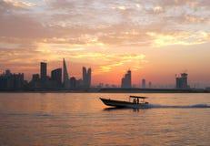 Fisherman way back home during sunset Royalty Free Stock Image