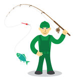 Fisherman on white background Royalty Free Stock Image