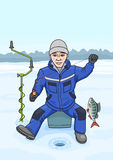 The fisherman on winter fishing. Royalty Free Stock Images