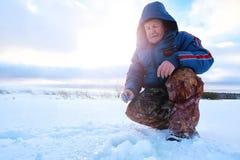 Fisherman Winter on the Lake Stock Photography