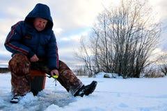 Fisherman Winter on the Lake Stock Image