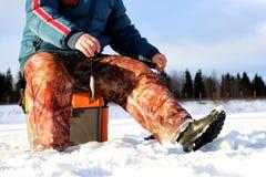 Fisherman Winter on the Lake Stock Photos