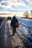 Fisherman Winter on the Lake Royalty Free Stock Photography