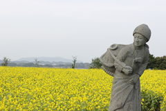 Fisherman woman  statue with yellow background in Jeju island Ko Royalty Free Stock Image