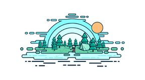 Fisherman in the woods by the river fishing vector illustration