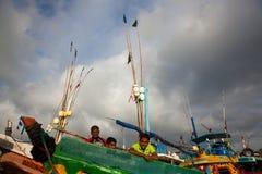 Fishermans на шлюпке Стоковые Фото