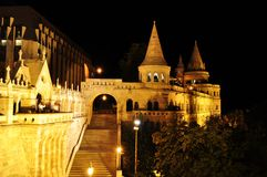 Fishermans bastion. Night view of fishermans bastion in budapest, hungary stock image