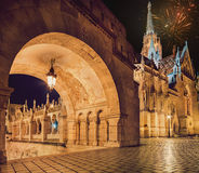 Fishermans Bastion in Budapest with fireworks in the evening sky Royalty Free Stock Photo