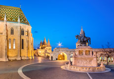 Fishermans Bastion in Budapest, Hungary at night Stock Photos