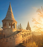 Fishermans Bastion in Budapest, Hungary, on the sunrise. Royalty Free Stock Images