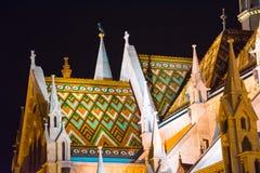 Fishermans-Bastion - Budapest nachts mit Farben Stockfotos