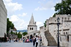 The Fishermans Bastion in Budapest,. Is so named because this stretch of Budas defensive walls was traditionally guarded and maintained by the guild of stock image