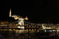 Fishermans Bastion and chain bridge by night Stock Photos