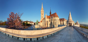 Fishermans Bastion and church in Budapest, Hungary - panorama Stock Photos