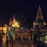 Fishermans Bastion at night in Budapest Stock Images