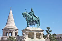 Fishermans bastion and the Statue of Saint Stephen Stock Photo