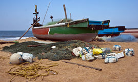 Fishermans boat calangute goa india Stock Photo