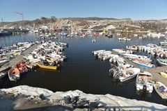 Fishermans boats on arctic ocean in Ilulissat marine, Greenland. May 2016 Royalty Free Stock Images