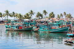 Fishermans boats at fisherman village, Phu Quoc island, Vietnam. Stock Photos