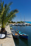 Fishermans boats in Tomis harbor Royalty Free Stock Image
