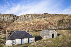 Fishermans Bothy at St Cyrus in Scotland. Royalty Free Stock Photo