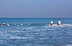 Fishermans con le reti Fotografia Stock