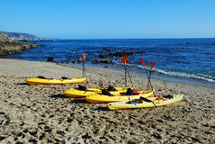 Fishermans Cove with kayaks, Laguna Beach, CA. Royalty Free Stock Images