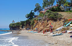 Fishermans Cove in Laguna Beach, California. Fishermans Cove, or Boat Canyon Beach, is found in North Laguna Beach, California. This small, secluded beach stock photography