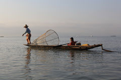 Fishermans do lago Inle fotografia de stock royalty free