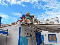 Fishermans en las islas Canarias de Agaete fotos de archivo libres de regalías