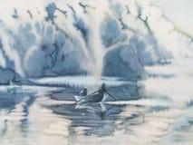 Fishermans en las nubes de la niebla de la mañana stock de ilustración