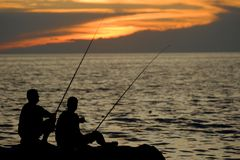 Fishermans fishing Stock Photos
