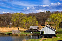 Fishermans houses landscape Stock Photos