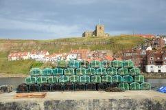 Fishermans-Hummertöpfe an auf der Dockseite Lizenzfreie Stockbilder