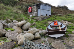 Fishermans Hut and Boat Stock Photos