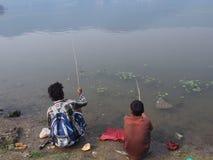 Fishermans. Lake in pokhara Royalty Free Stock Image