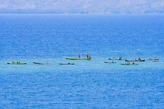 Fishermans (Lamalera,印度尼西亚) 图库摄影