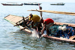 Fishermans. (Lamalera, Indonesia). Fishermen from the fishing village Lamalera unload the fish caught. The village of Lamalera on the Indonesian island of stock photos