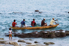 Fishermans from Lamalera,Indonesia. Indonesian fishermen go to sea with its wooden boat.The village of Lamalera on the Indonesian island of Lembata is the last royalty free stock photo