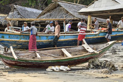 Fishermans from Lamalera,Indonesia. Indonesian fishermen go to sea with its wooden boat.The village of Lamalera on the Indonesian island of Lembata is the last stock images