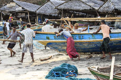 Fishermans from Lamalera,Indonesia. Indonesian fishermen go to sea with its wooden boat.The village of Lamalera on the Indonesian island of Lembata is the last royalty free stock image