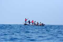 Fishermans.(Lamalera,Indonesia). Indonesian fishermen waiting for the appearance of ten meter whale on the surface of the water.In the waters around the island stock photography