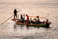 Fishermans.(Lamalera,Indonesia). Indonesian fishermen waiting for the appearance of ten meter whale on the surface of the water.In the waters around the island royalty free stock photos